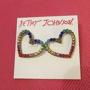 Betsey Johnson rainbow gem hearts nwy